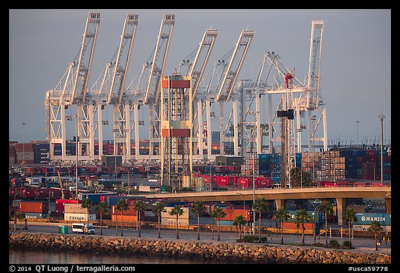 Containers and cranes in Long Beach port. Long Beach, Los Angeles, California, USA (color)