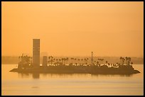 Islet at sunrise in harbor. Long Beach, Los Angeles, California, USA ( color)