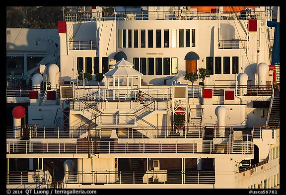Detail of Queen Mary stern. Long Beach, Los Angeles, California, USA (color)