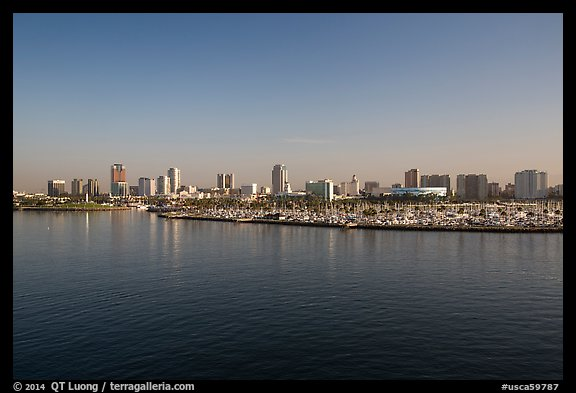 Long Beach skyline and marina. Long Beach, Los Angeles, California, USA (color)