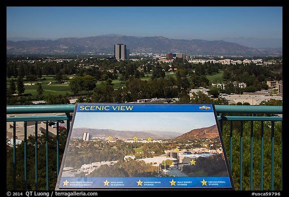 Scenic view sign, Universal Studios. Universal City, Los Angeles, California, USA (color)