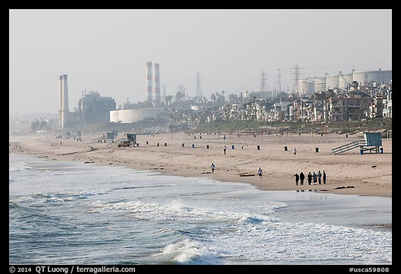 Beach and industrial facilities, Manhattan Beach. Los Angeles, California, USA (color)