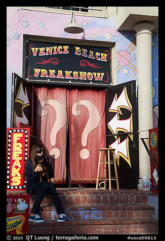 Freak Show, Ocean Front Walk. Venice, Los Angeles, California, USA (color)