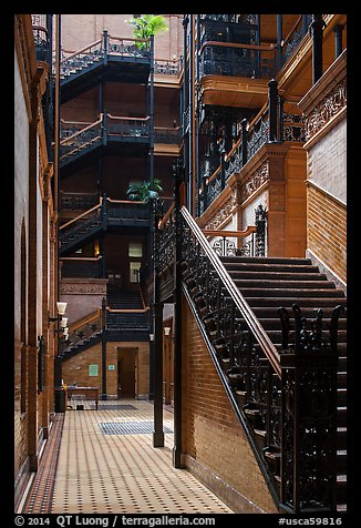 Stairs in Bradbury Building. Los Angeles, California, USA (color)