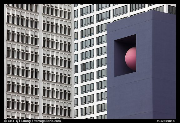 Sculpture detail and facades, Pershing Square. Los Angeles, California, USA (color)