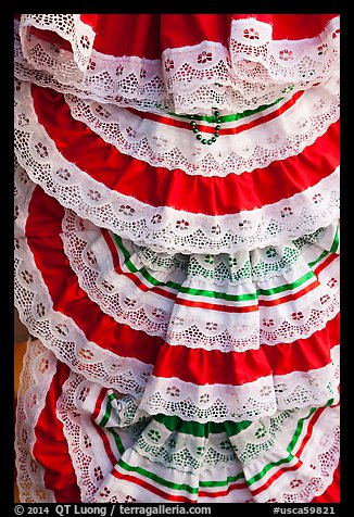 Detail of dresses with Mexican colors, El Pueblo. Los Angeles, California, USA (color)
