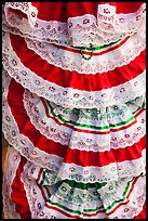 Detail of dresses with Mexican colors, El Pueblo. Los Angeles, California, USA ( color)