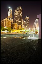 Fountain and high-rises at night, Pershing Square. Los Angeles, California, USA ( color)