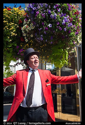 Man with red jacket, tie, and suit. Beverly Hills, Los Angeles, California, USA (color)