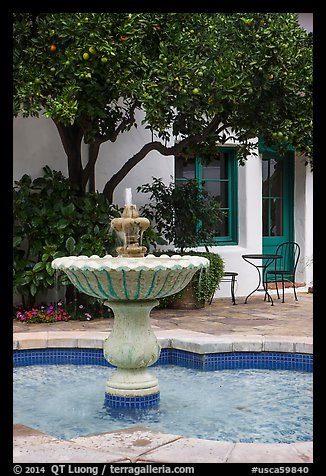 Fountain, Historic Paseo. Santa Barbara, California, USA (color)