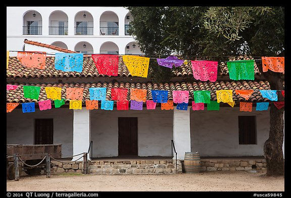 Colorful flags in courtyard. Santa Barbara, California, USA (color)