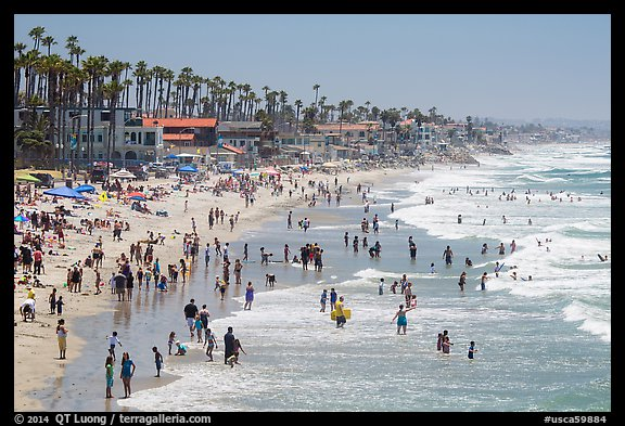 Crowded beach in summer, Oceanside. California, USA (color)