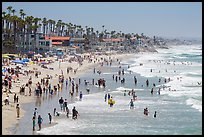Crowded beach in summer, Oceanside. California, USA ( color)