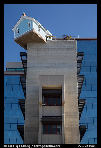 House sitting atop Warren College engineering building, UCSD. La Jolla, San Diego, California, USA (color)
