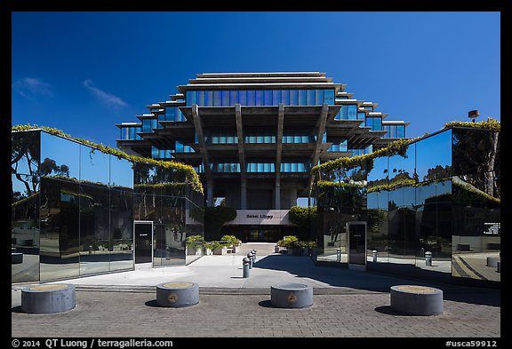 Entrance of Geisel Library, University of California. La Jolla, San Diego, California, USA (color)