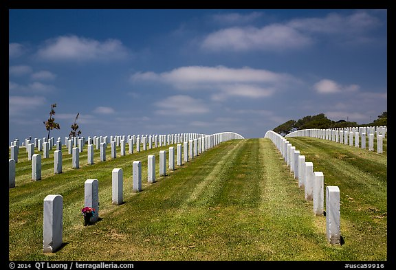 Headstones, Fort Rosecrans National Cemetary. San Diego, California, USA (color)