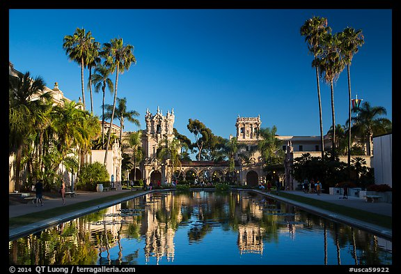 Casa de Balboa and House of Hospitality reflected in lily pond. San Diego, California, USA (color)