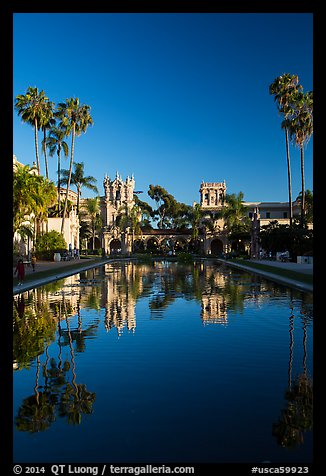 House of Hospitality and Casa de Balboa reflected in lily pond. San Diego, California, USA (color)