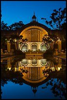 Botanical Building reflected at night. San Diego, California, USA ( color)