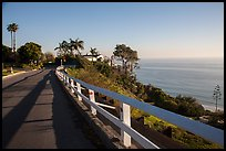 Residential street overlooking Pacific Ocean, Malibu. Los Angeles, California, USA ( color)
