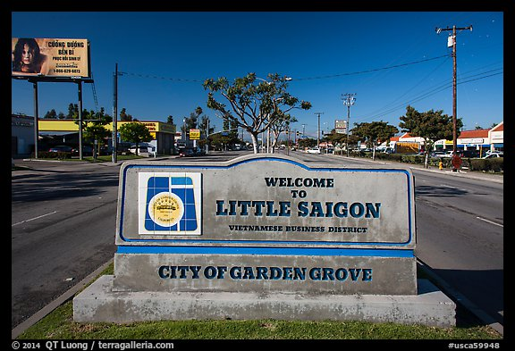 Little Saigon sign. Garden Grove, Orange County, California, USA (color)