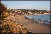 Beach with people strolling in late afternoon. Laguna Beach, Orange County, California, USA ( color)