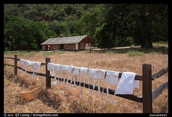 Laundry drying on fence, Fort Tejon state historic park. California, USA (color)