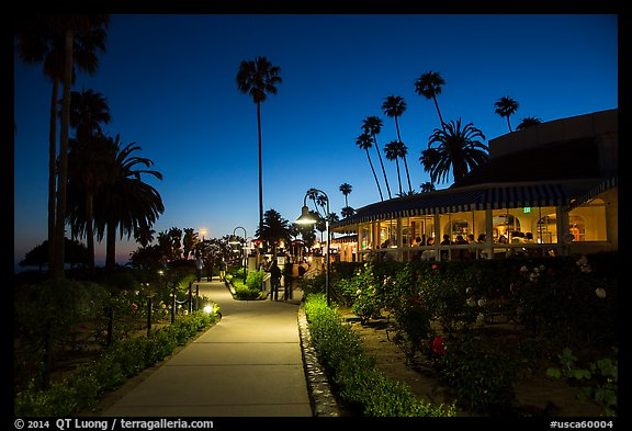 Restaurant near park at night. Laguna Beach, Orange County, California, USA (color)