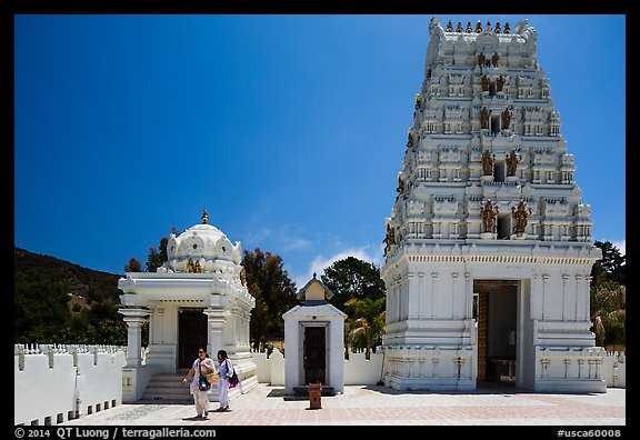 Women visiting Malibu Hindu Temple, Calabasas. Los Angeles, California, USA (color)