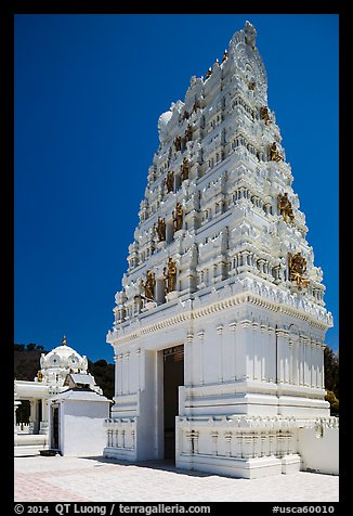 Temple in traditional South Indian style, Calabasas. Los Angeles, California, USA (color)
