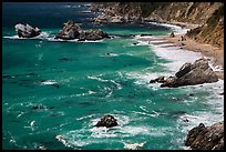 Green waters and shoreline, Julia Pfeiffer Burns State Park. Big Sur, California, USA ( color)