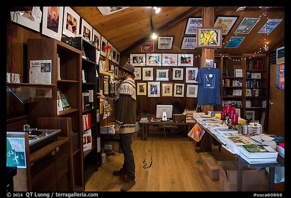 Visitor browsing, Henry Miller Memorial Library. Big Sur, California, USA (color)