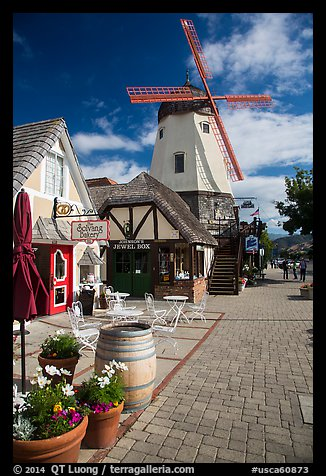 Bakery and windmill. Solvang, California, USA (color)