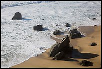 Surf, rock, and beach, Garrapata state park. Big Sur, California, USA ( color)
