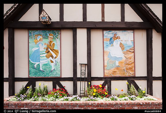 Mural decor on danish-style building. Solvang, California, USA (color)