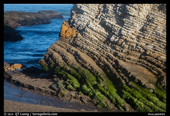 Stratified rock, Montana de Oro State Park. Morro Bay, USA (color)