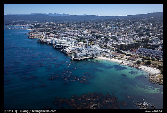 Aerial view of Aquarium and Cannery Row waterfront. Monterey, California, USA (color)