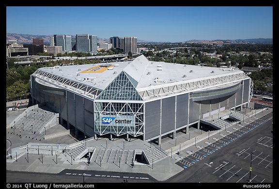 Aerial View Of Sap Center San Jose California Usa With Hotels