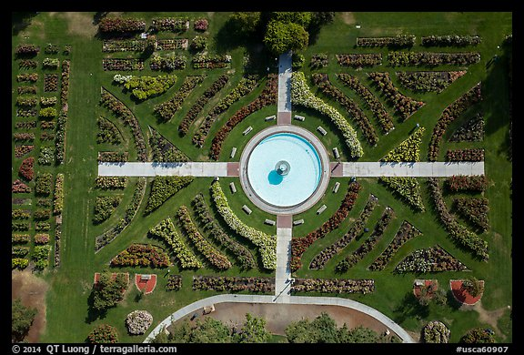 Aerial view of fontain in Rose Garden. San Jose, California, USA (color)
