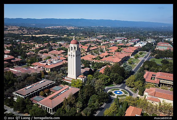 Aerial view of Hoover Tower and campus. Stanford University, California, USA (color)
