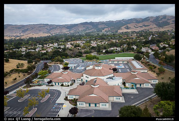 Aerial view of Silver Oak school and Evergreen hills. San Jose, California, USA (color)