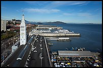 Aerial view of Ferry Building and piers. San Francisco, California, USA ( color)