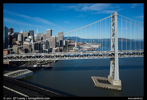 Aerial view of Bay Bridge and Embarcadero. San Francisco, California, USA (color)