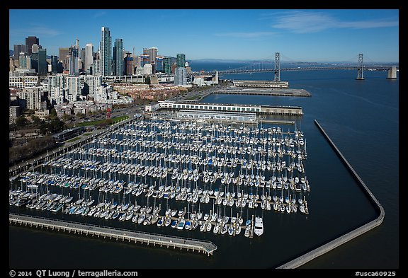 Aerial view of South Beach Harbor, downtown, and Bay Bridge. San Francisco, California, USA (color)