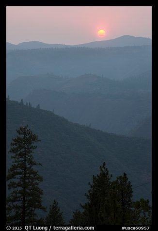 Sun setting over ridges, Stanislaus National Forest. California, USA (color)