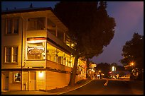 Groveland hotel and main street at night. California, USA ( color)