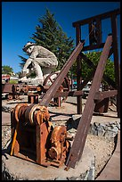 Mining equipment and statue commemorating gold rush, Auburn. California, USA ( color)