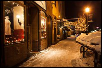 Snowy sidewalk at night, Truckee. California, USA ( color)