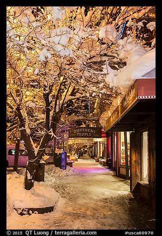 Sidewalk with fresh snow at night, Truckee. California, USA (color)