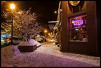 Main street in winter at night, Truckee. California, USA ( color)